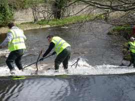 Clearing branches from the weir